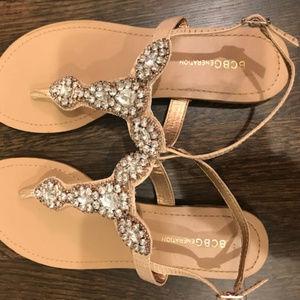 BCBG Bailey Jeweled Leather Flat Thong Sandal